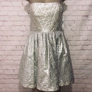 Alice and Olivia silver metallic lace dress